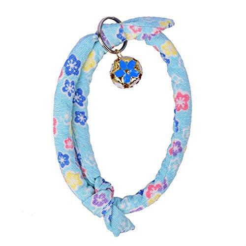 verstellbar Baumwolle Tuch Katze Halsbänder Blütenmuster Katze Kätzchen Pet Sicherheit Halsband mit Glöckchen (Kätzchen Halsband Breakaway)