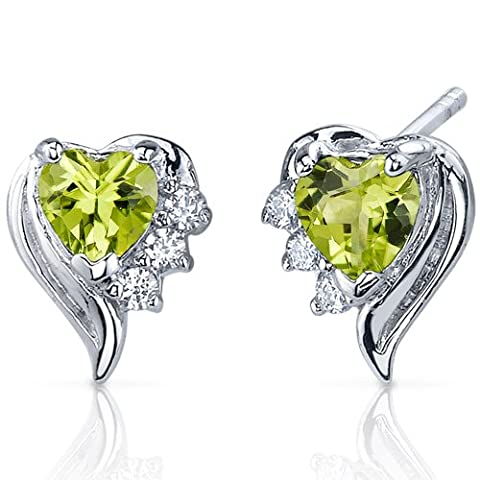 Revoni- Cupids Grace 1.00 Carats Peridot Heart Shape CZ Earrings in Sterling Silver