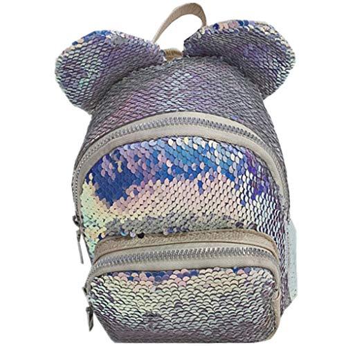 Dorical Kinderrucksack Mädchen Cartoon Kinderrucksäcke Pailletten Rucksack, Glitzer Nette Mode Freizeitreise Crossbody Bag,Reise Umhängetasche,Ausverkauf(Hellblau)
