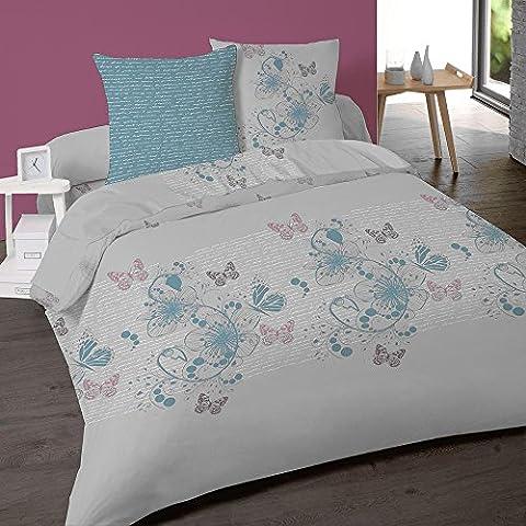 Parure de lit 4 pièces Floral en flanelle 2 personnes