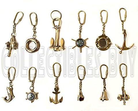 Lot de 12porte-clés Thème nautique vintage En laiton