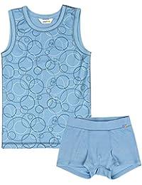 joha Juego de ropa interior de joven 2piezas Bubbles de lana de merino y Bio de algodón en azul