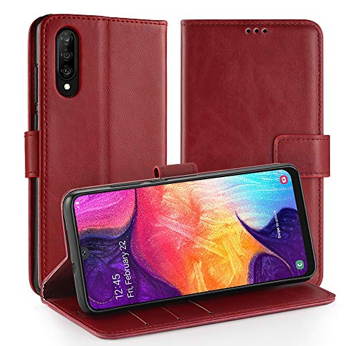 Simpeak Ersatz für Samsung Galaxy A50 Hülle Leder Rot [6,4 Zoll], Case Cover handyhülle für Samsung Galaxy A50 flipcase [Kartensteckplätze] [Stand Feature] [Magnetic Closure Snap] Rot Cover Case Snap