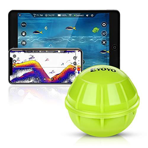 Eyoyo Fischfinder Smart Bluetooth Fish Finder, Tragbarer Kabelloser Sonar Fischfinder Kompatibel mit iOS- und Android-Handys Für Dock, Ufer, Boot, Eisfischen Finder Fishfinder
