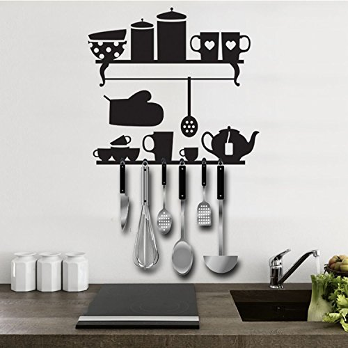 Lo+DeModa Kitchenware Vinile Decorativo con Appendiabiti, Pvc, Nero, 60x4x0.24 cm