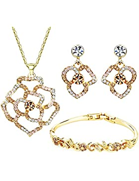 Neoglory Jewellery 14 K Gold Schmuckset mit Swarovski® Elements Strass Blume
