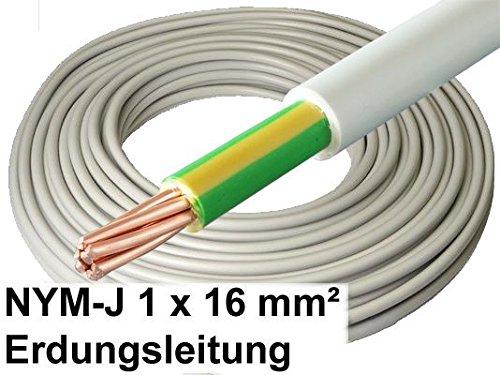 10 Meter - 1x16mm² Blitzschutz Erdungskabel - NYM-J 1x 16mm² grau