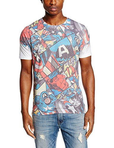 Rockoff Trade Captain America Comic Strip Sublimation, Camisetas para Hombre, Multicolor, X-Large
