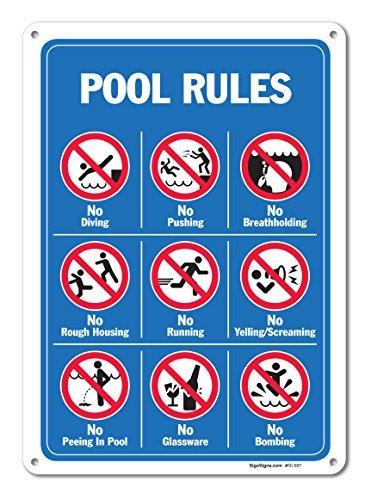 Piscina segni–Pool Rules Sign con graphics- grande 10x 14aluminum Sign metal Signs cartelli stradali vintage segni di latta placche decorative...