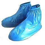Oriskey 1Paar Regenüberschuhe Wasserdicht Schuhe Abdeckung Stiefel Flache Regen Überschuhe Regenkombi Schuhüberzieher Rutschfestem für Damen Mädchen Herren Jungen,Blau,XXL