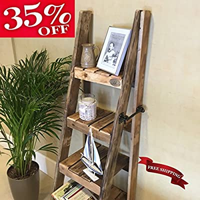 Rustic Ladder Shelves; handmade in Kent using reclaimed wood