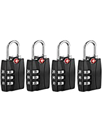 Newtion Tsa Approved Luggage Locks With Open Alert Travel Security 3 Digit Combination Password Locks For Suitcases...