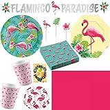 HHO Flamingo Paradise Paradies Partyset 140tlg. für 16 Gäste Teller Becher Servietten Snackteller Partykette Picker Muffinförmchen Tischdecke