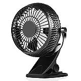 Mini Ventilateur à Clipper, Simpeak 5' Ventilateur USB de Bureau 2 Modes Rotation à 360° Portable réglable Desk Fan Compatible avec PC pour Poussette, Voiture, Camping - Noir