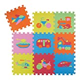 Relaxdays Puzzle Spielmatte 63 tlg, Fahrzeug Motiv Kindermatte, Eva Schaumstoff, Puzzlematte BxT: 90 x 90 cm, Bunt