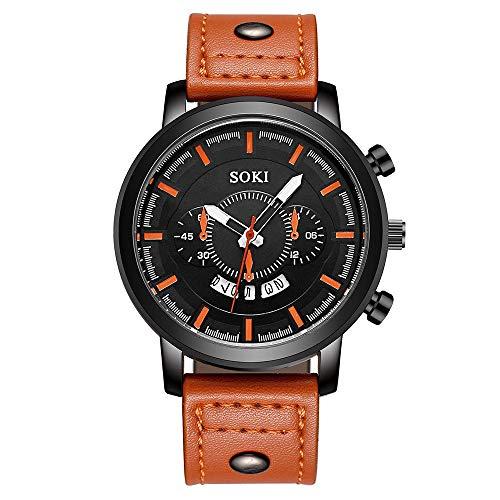 LABIUO Clearance Herrenuhr, Mode Edelstahl Analog Quarz Uhr Datum Kalender Business Casual Armbanduhr mit Leder(D,Einheitsgröße)