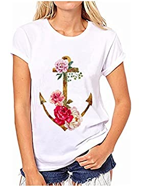 Camisetas Mujeres YOGLY Blusa Camisa Manga Cortas Cuello Redondo Camiseta Top Camisa de Mujer Color Sólido Camisa...