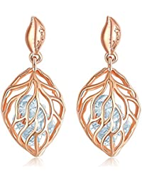 Jewels Galaxy Crystal Luxuria Leaf Designed Splendid 18K Rose Gold Plated Drop Earrings For Women/Girls
