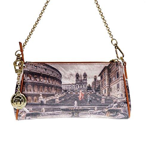 Y NOT? - Borsa da donna pochette con tracolla e catenella g-313 Roma Piazza di Spagna