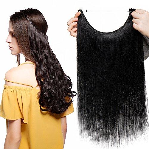 Extension capelli veri fascia unica con filo trasparente one piece wire in 100% remy human hair naturali lisci lunga 50cm pesa 70g, #1 jet nero