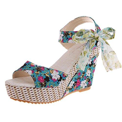 Beauty-luo sandali donna con tacco sandali open toe sexy con zeppa in pizzo da donna, scarpe col tacco alto da donna, sandali donna eleganti (35, b)