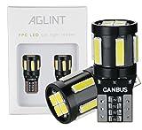 AGLINT T10 W5W Ampoule LED CANBUS Sans Erreur Voiture Light 194 168 2825 10SMD LED Ampoules de Remplacement, Lampe de Lecture de Voiture, Lampe de Plaque D'immatriculation, Blanc, 2 Pièces