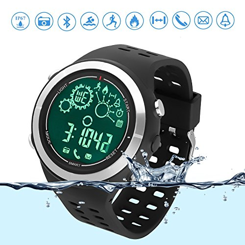 Sport-Smartwatch Bluetooth Lauf-Uhr Schwimm-Tracker IP67 Wasserfest Ferngesteuerte Kamera Bluetooth-Uhr Schrittzähler für Android und IOS Smartphone Schwarz