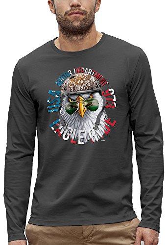 3D animierte Langarm T-shirt ADLER USA BIKER Augmented Reality - PIXEL EVOLUTION - Mann Grau