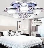 Style Home® RGB Kristal LED Lámpara de techo plafón 61025focos * 7W Blanco Cálido Bombillas con mando a distancia incl.