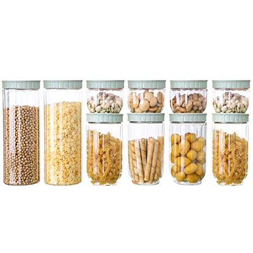 NNDQ 10-teiliges Set, luftdichte Aufbewahrungsbehälter für Lebensmittel in der Küche mit Deckel, haltbarer Kunststoff, BPA-frei, Schnallendesign, hält Lebensmittel trocken (Tasche Tür Ziehen Und Lock-set)