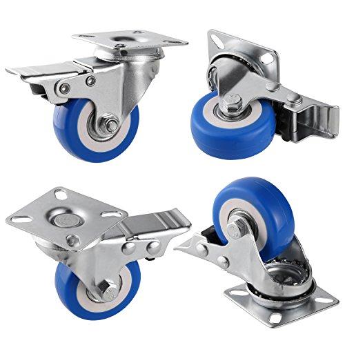 """Modera 4 Stück Lenkrollen Möbelrollen Schwenkrollen 2 mit und 2 ohne Bremse Tragfähigkeit 100kg aus Stahl und Gummi (2\"""", blau)"""