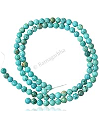 Turquoise Color Quartz Plain Smooth Polished Loose Gemstone Round Ball Beads, 15 Inch Length, Turquoise Blue Color...
