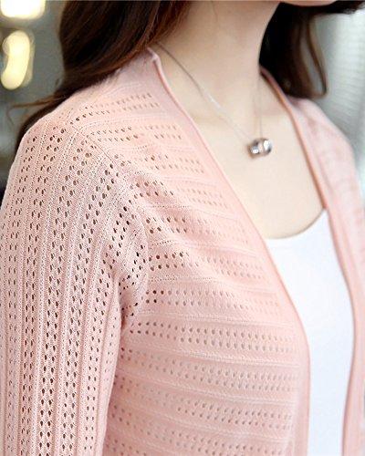 Cardigan Donna Lungo Elegante Manica Lunga Casual Calda Knit Cappotto Outwear Top Pink