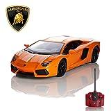 Lamborghini Aventador, télécommandé/télécommandé Modèle Voiture. 1:24 échelle En Noir Mate/blanc et Orange - Orange