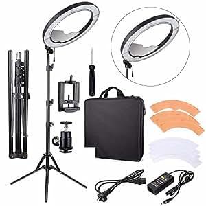 "EACHSHOT ES240 Kit, {Including Light, Stand, Mirror, Bag, Bracket} 18"" 5500K Dimmable LED Adjustable Ring Light with 2 Color Diffuser"