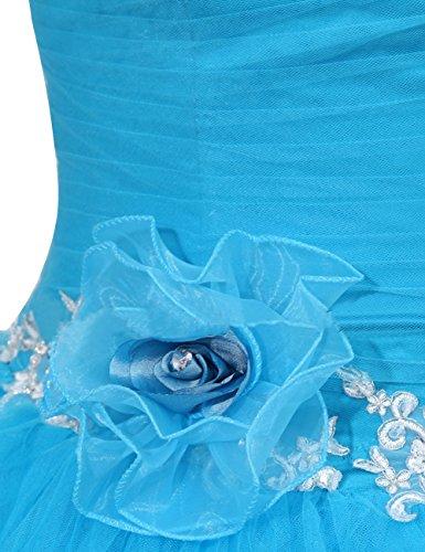 Dressystar Robe femme, Robe de gala/ soirée/ cérémonie/de bal longue à une bretelle, à fleur, en Tulle Bordeaux