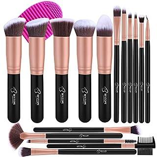 BESTOPE Make up Pinsel Set 16 Stück Premium Kosmetik Pinselset kosmetik Kabuki Foundation Blush Eyeshadow Eyeliner Schminkpinsel Kosmetikpinsel set mit Pinselreiniger (Rosa Gold)