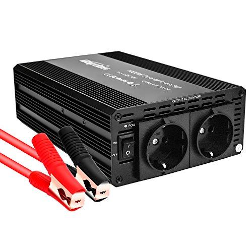 Bapdas 1000W Kfz-Wechselrichter/Spannungswandler DC 12 V auf AC 220-230 V mit 2 AC Buchse und 80cm Kable -