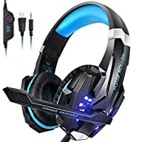 PS4 Headset, INSMART PC Gaming Headset Over-Ear Gaming Headphones with Mic LED Light Noise Cancelling & Volume Control for Laptop Mac Nintendo Switch New Xbox One PS4 (3.5mm Splitter Cable Included)