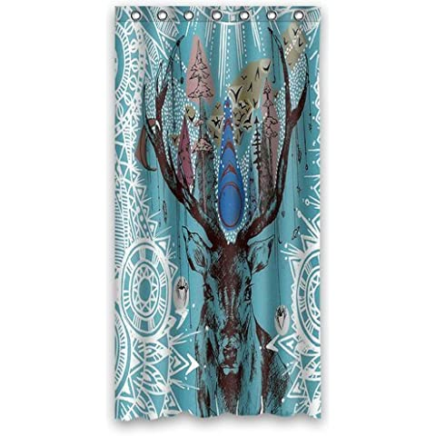 Fashion Style Moose Reindeer Deer Animal Painting Artwork Tribal Bathroom Shower Curtain 36