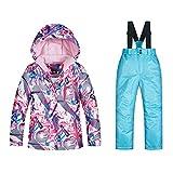 iBaste Skianzug Kinder 2tlg Schneeanzug Skijacke+Skihose Hosenträger Snowboardhose Jungen Mädchen Winterhose Wasserdicht Winddicht