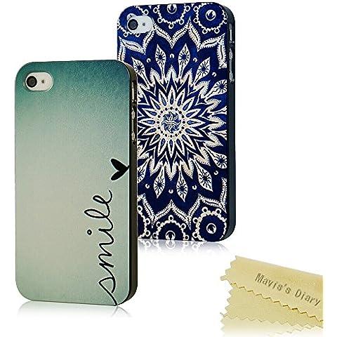 2x iPhone 4 4S Funda de Dura Plástico PC Case Negro - Mavis's Diary® Funda para móvil Carcasa Resistente a los Arañazos Diseño de Amor y Totem