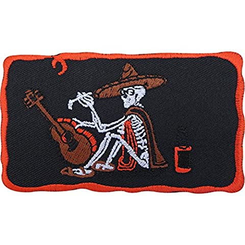 Skeleton Patch Badge Iron Sew On Embroidered Cowboy Hat Poncho Guitar Beer Moon