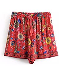 f47761713b FuweiEncore Pantalones Cortos de Las Mujeres Pantalones Cortos Ocasionales  Impresos Florales de la Cintura Elástico