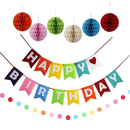 Geburtstags-party Mädchen (Geburtstag Party Dekoration, KALMI Alles Gute zum Geburtstag Dekoration Banner (stoff) Mit Bunten Gewebe Pom Pom Ball (Co))