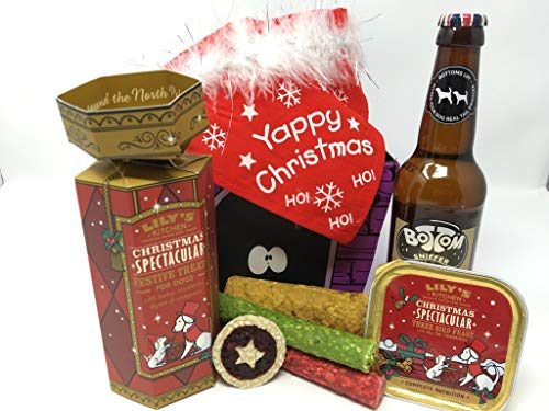 Pet Presents Christmas Day Treat Hamper for Dogs with Dog Beer