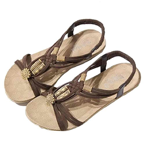 Fulltime®Femmes Bohemia Sweet Beaded Sandales Clip Toe Sandales Chaussures de plage Marron