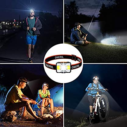 OMERIL LED Head Torch, USB Rechargeable Headlamp with Super Bright 200 Lumens,5 Lighting Modes,White&Red Light,IPX5 Waterproof Headlight for Kids Adults,Running,Dog Walking,Cycling,Camping,Fishing 7