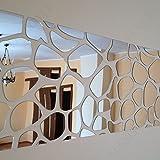 Dekorativer Spiegel Rocks 140 x 70cm, modernes Design Dekoration, 3mm Acryl-Spiegel aus der EU, Wohnzimmer, Schlafzimmer, Flur, unzerbrechlich, DIY-Heimtextilien, Silber, hergestellt in der EU