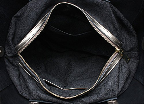 Remeehi Ladies Fashion Bovini nascondere Borse grandi dimensioni una borsa a tracolla, Black (bianco) - JXQ0695-6 Wine Red